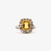 Jordans Jewellers pre-owned platinum emerald cut yellow sapphire and diamond cluster ring