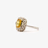 Jordans Jewellers pre-owned platinum emerald cut yellow sapphire and diamond cluster ring - Alternate shot 1