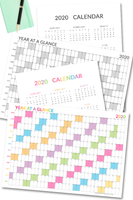 2020 year at a glance calendar printable template you can print to plan ahead. USe the annual calendar printable to plan important dates, events, set goals and can also be used as a habit tracker