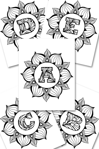 Cute alphabet floral monogram coloring pages to print. These coloring pages for adults is a great way to reduce stress, anxiety, and also improve your focus. There are super fun to color and will also make a great addition to your wall art collection.