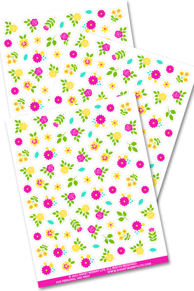Cute flower planner stickers to add some color and fun to your planner pages and printables.