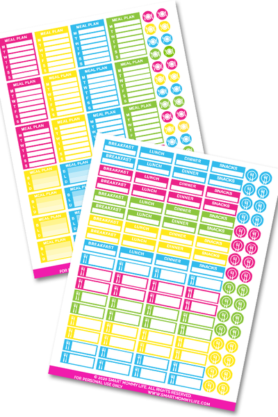Cute meal planner stickers to add some color and fun to your planner pages and printables. You can use the boxes to meal plan your weekly and daily dinner meals. Add some decorations to your planner with these printable stickers.
