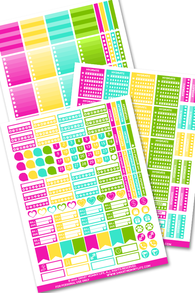 Cute functional planner stickers to add some color and fun to your planner pages and printables. You can use the boxes to make notes or the checklist to check off your to-do's. Add some decorations to your planner with these printable stickers.