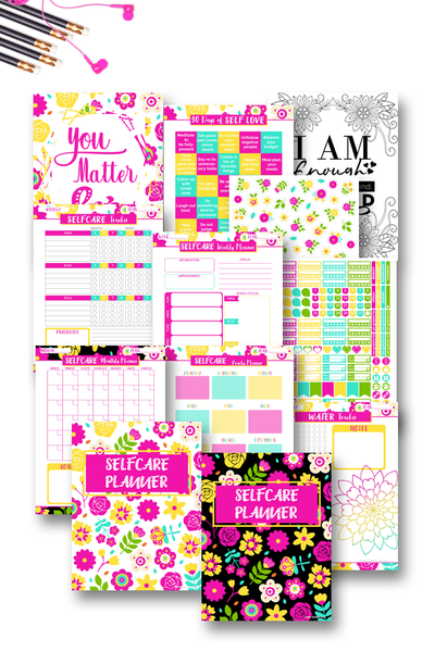 Cute and beautifully design 110+ self-care planner to help you take care of yourself better. Use this planner pdf to focus on the things that are important to you. It comes with yearly, monthly, weekly and daily template, coloring pages, water and habit tracker, mood tracker and much more