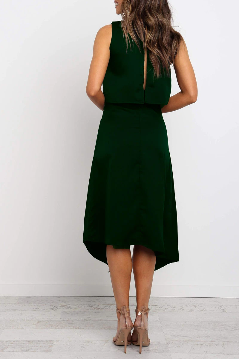 Borical O Neck Asymmetrical Midi Dress (3 colors)