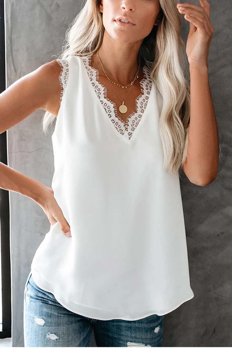 Borical Sleeveless Solid Color V Neck Casual Wear Top
