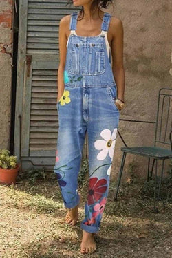 Borical Flower Printed Jeans