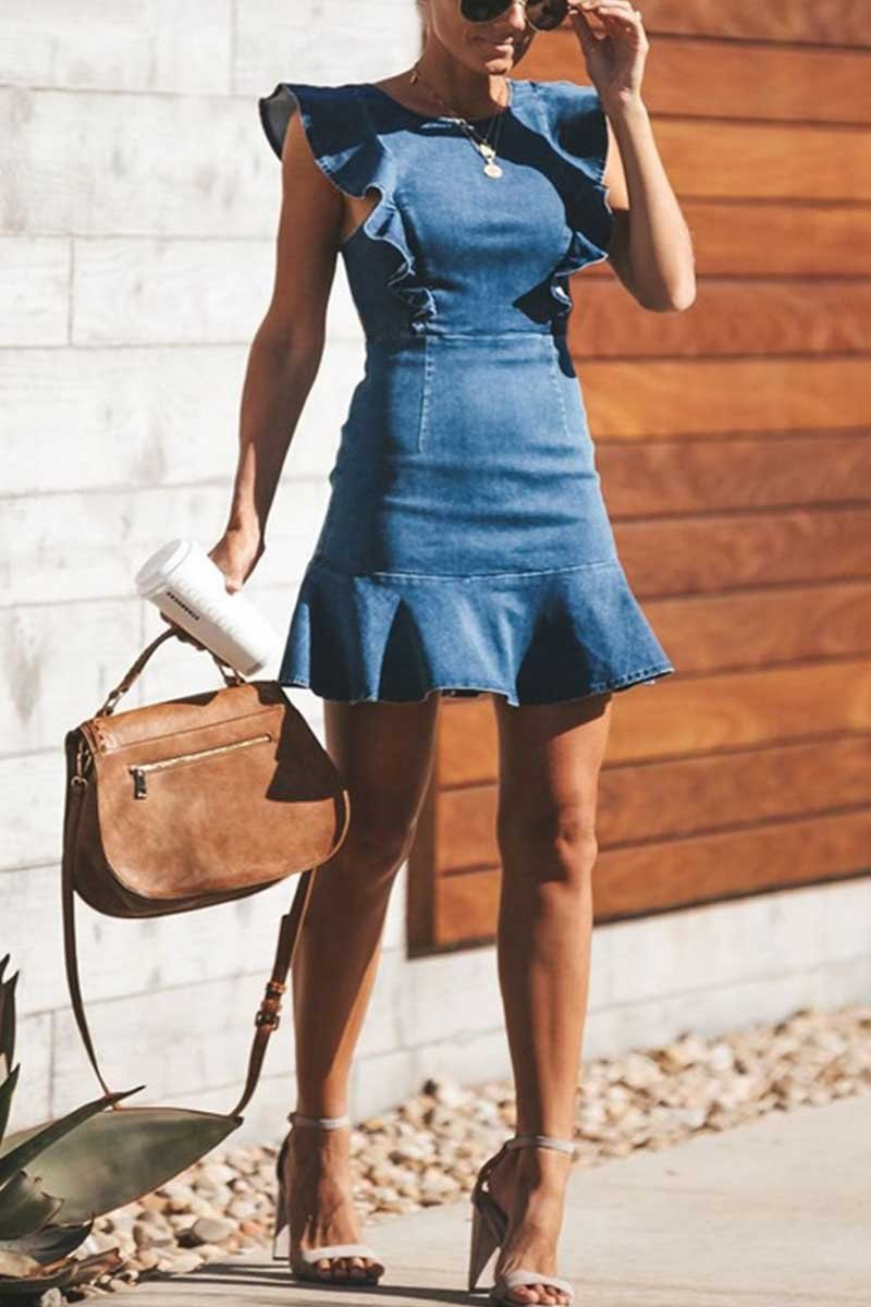 Borical O Neck Flouncing Denim Dress