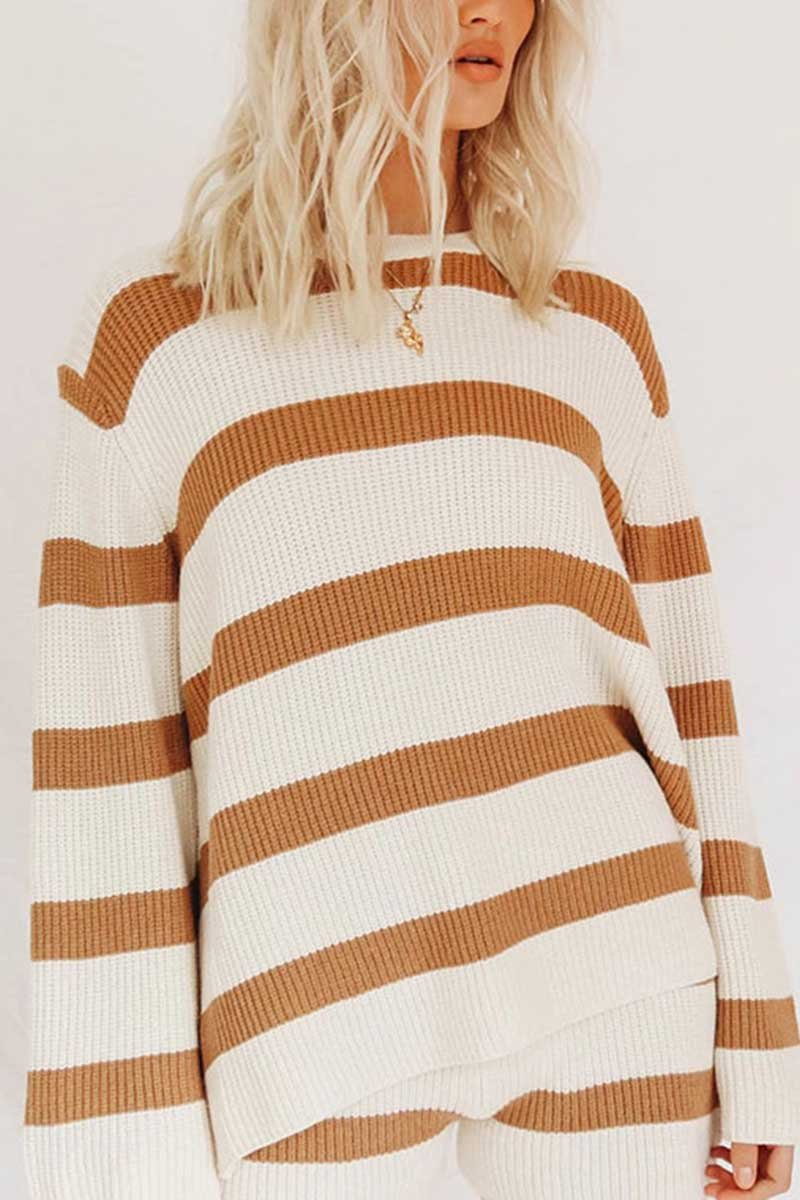 Borical Loose Striped Knitted Two-Piece Suit