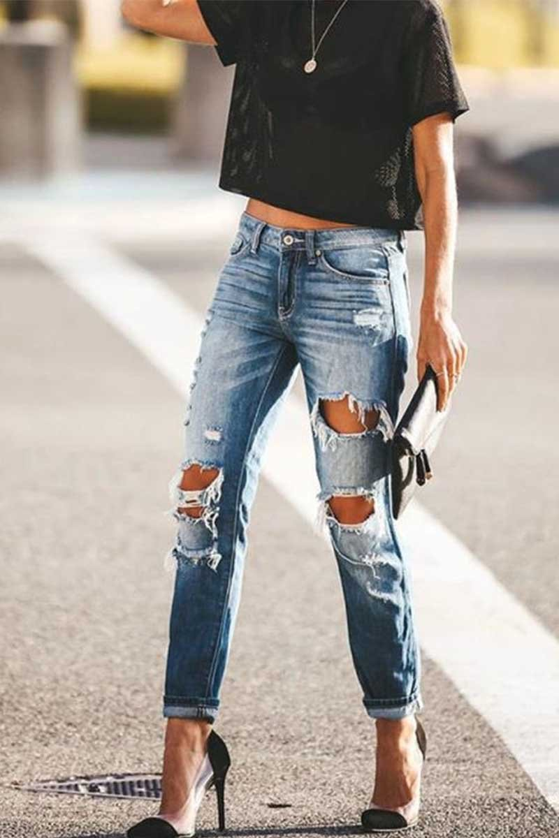 Borical Retro Style Ripped Jeans