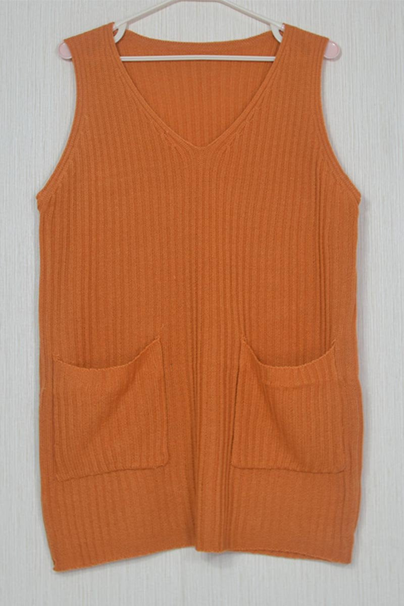 Borical V Neck Sleeveless Knit Vest