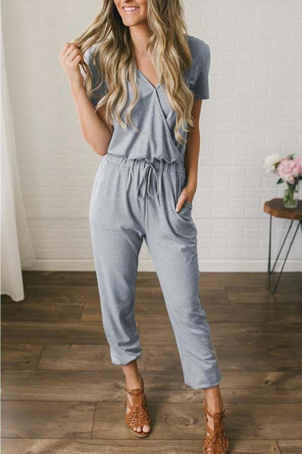 Borical Casual V Neck Solid Jumpsuit