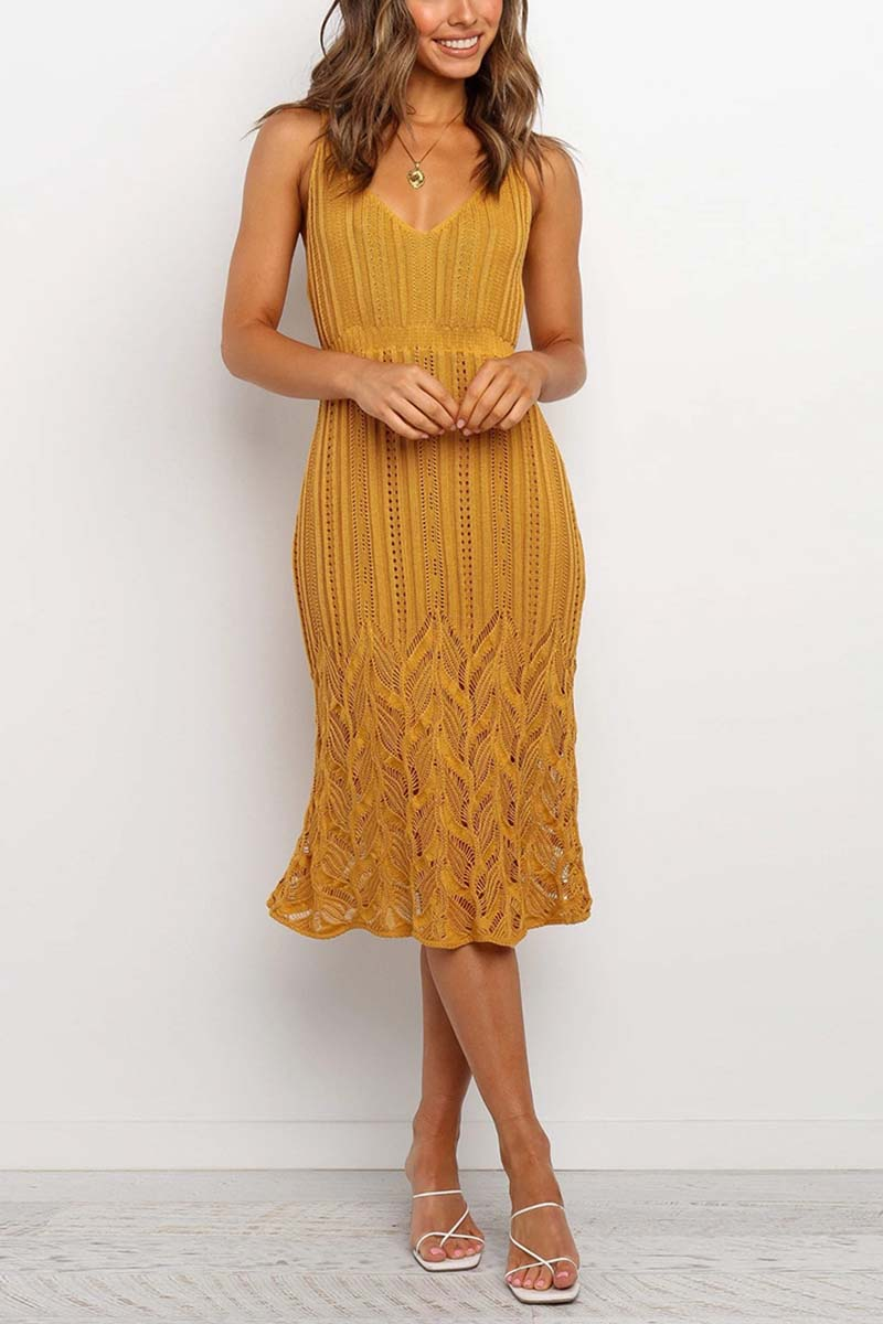 Borical V Neck Hollow-Out Dress ( 3 Colors)