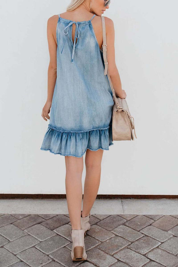 Borical Ruffled Denim Halter Dress