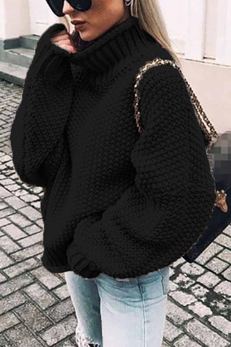 Borical Turtleneck Bat Sleeve Thick Line Sweater