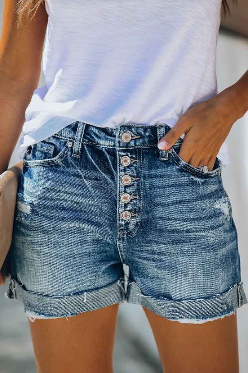 Borical High Rise Cuffed Denim Shorts