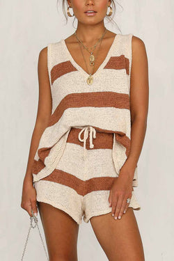 Borical Loose Striped Skirt Two Set
