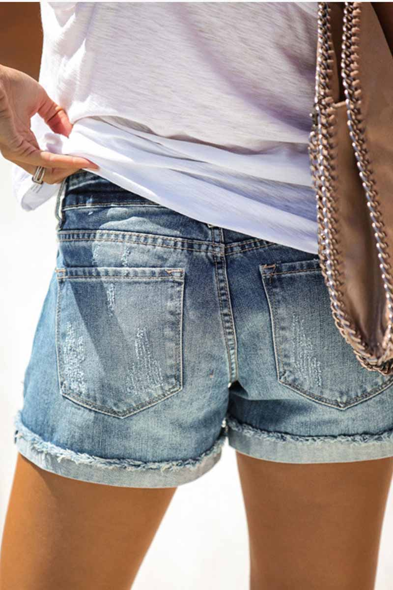 Borical Ripped Jean Shorts