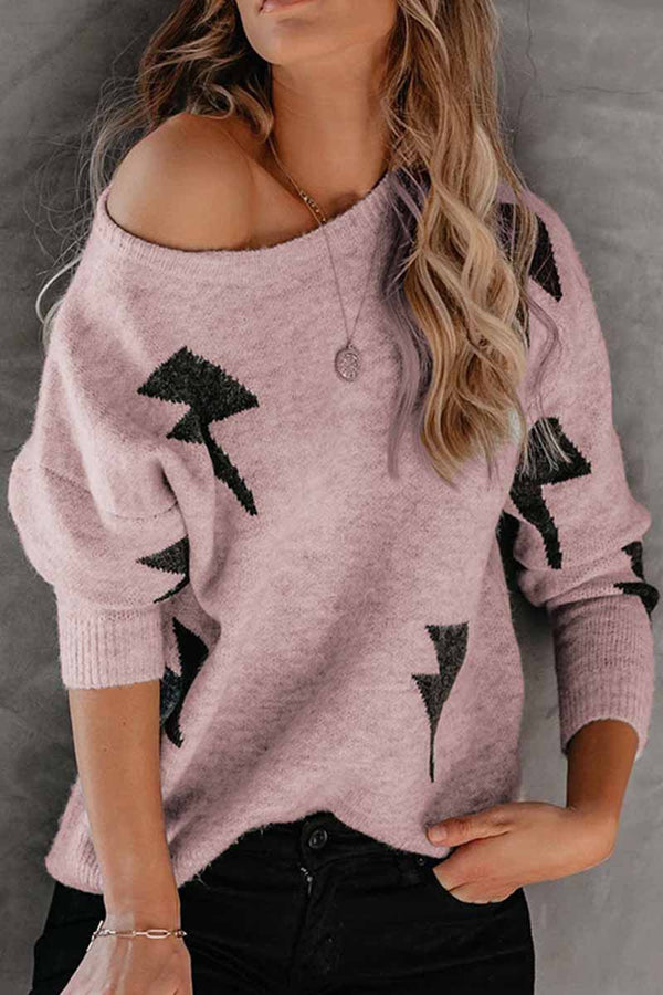 Borical Lightning Pattern Knit Sweater