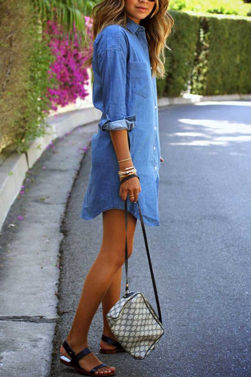 Borical Casual Denim Shirt Dress With Pocket