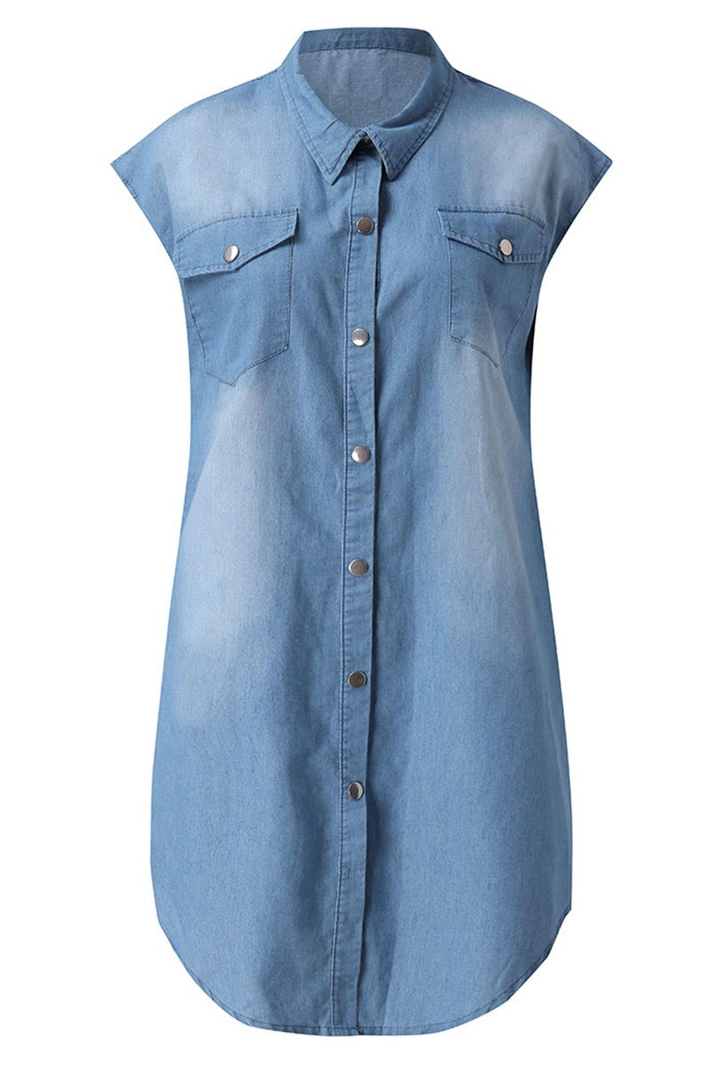 Borical Button Denim Dress
