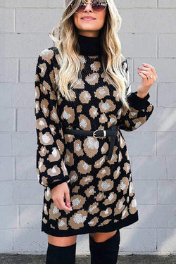 Borical Leopard Turtleneck Winter Dress