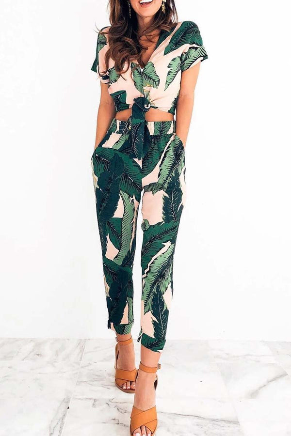 2020 High Waist Printed Two Pieces Set