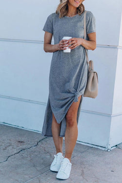 Casual O Neck Side Midi Dress