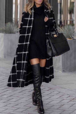 Borical Fashion Grid Winter Plaid Coat