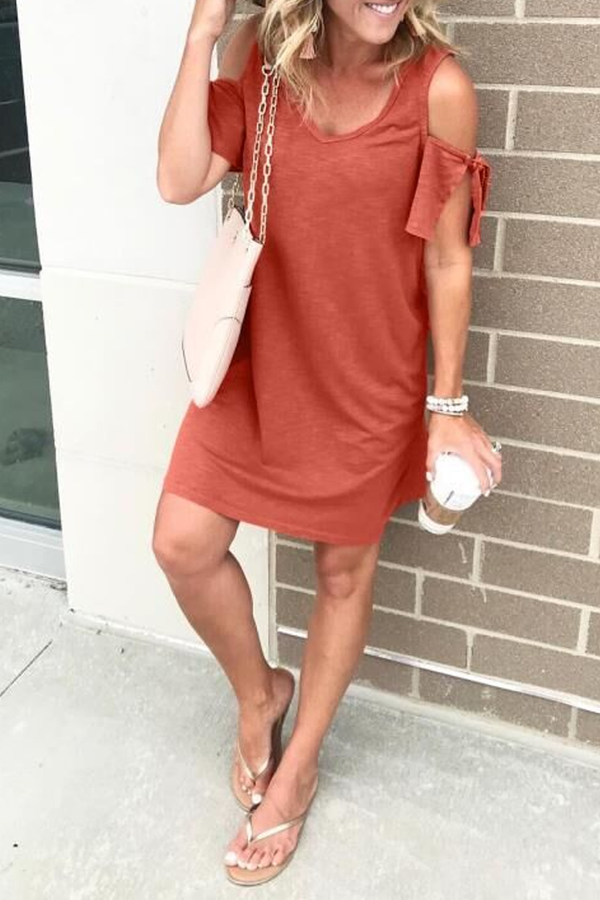 Dew Shoulder Round Neck Red Dress