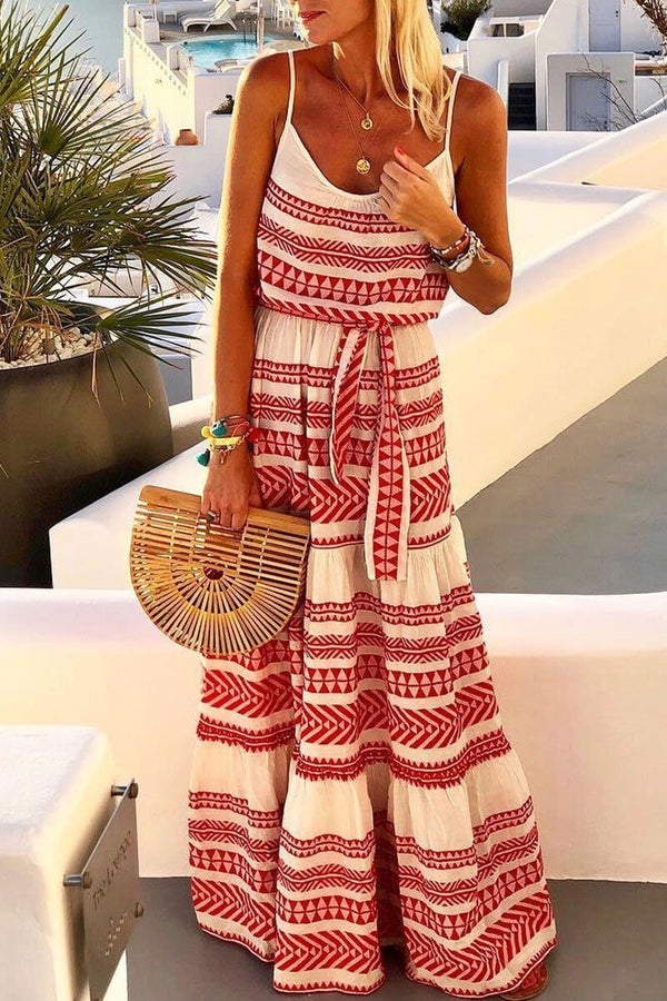 Red Maxi Dress With belts