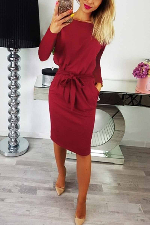 O Neck Midi Red Dress With Belt