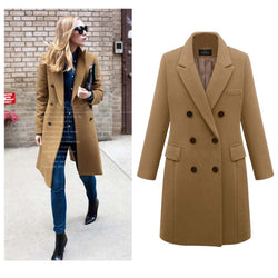 Borical Lapel Double Breasted Wool Pea Coat