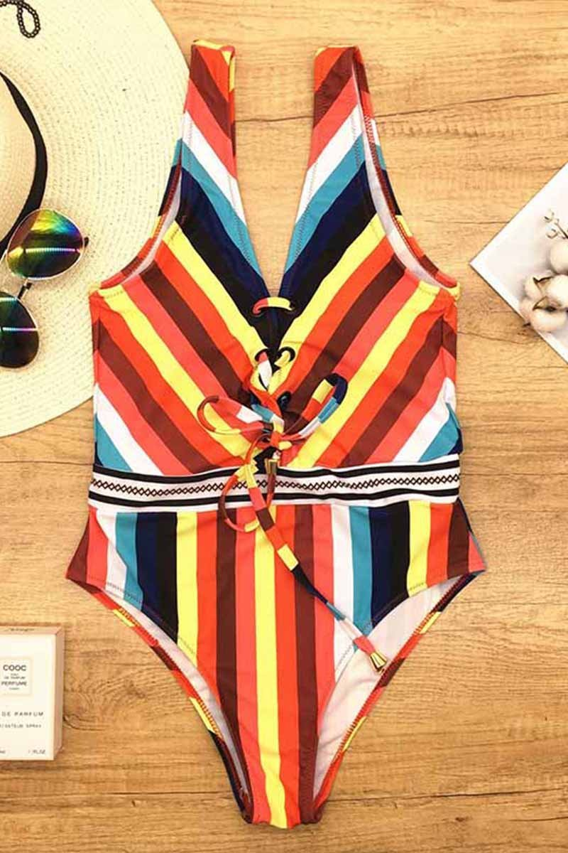 Borical Striped High Waist Triangle Swimsuit