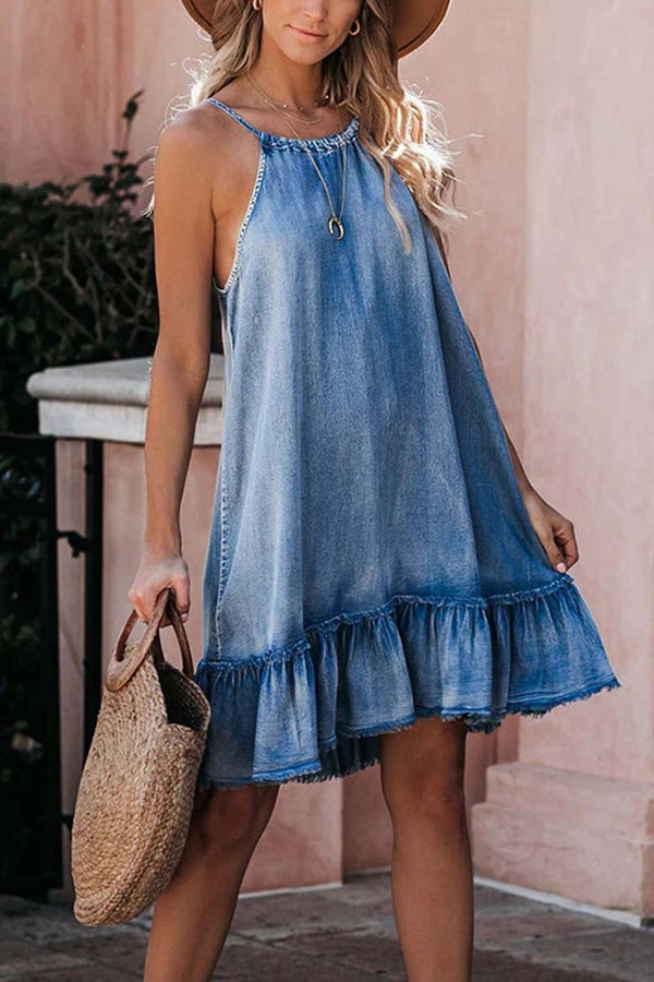 Borical Casual Denim Halter Dress