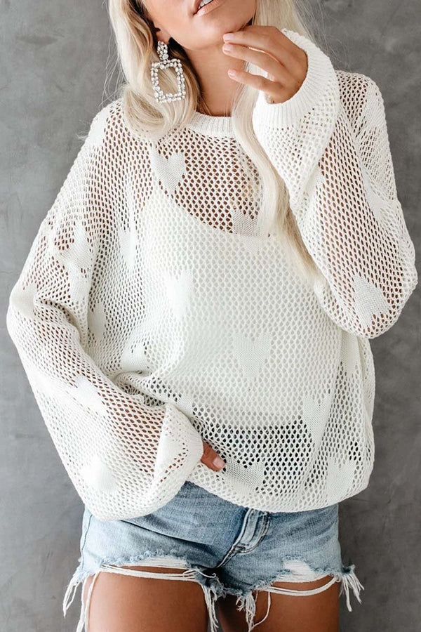 Borical Dew Shoulder Knit Love Sweater