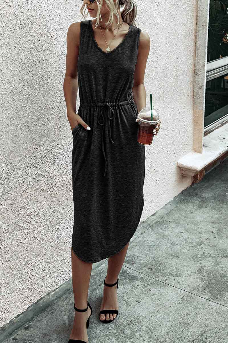 Borical Casual V-Neck Vest Dress 3 Colors