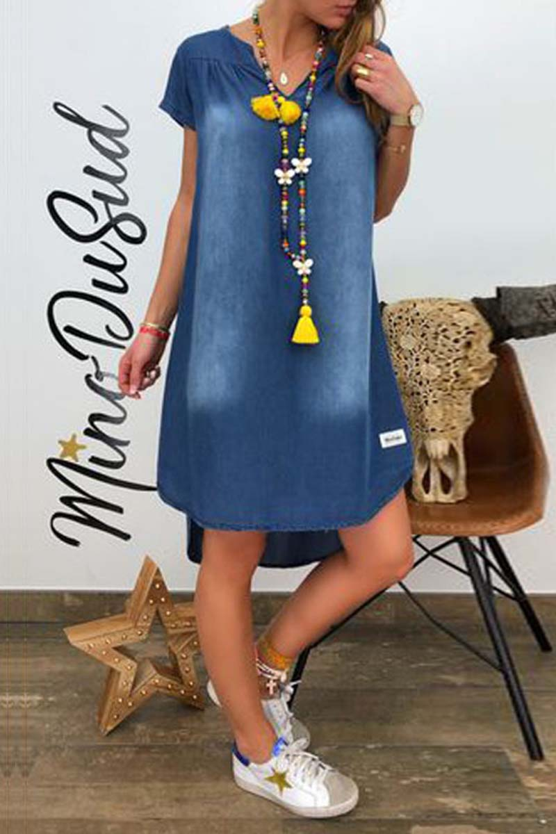 Borical V-Neck Short Sleeve Denim Dress