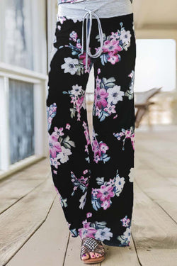 Borical Casual Black Floral Pants