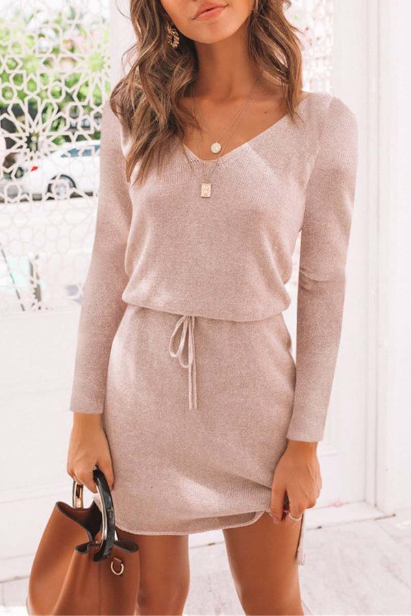 Long Sleeve pink mini dress