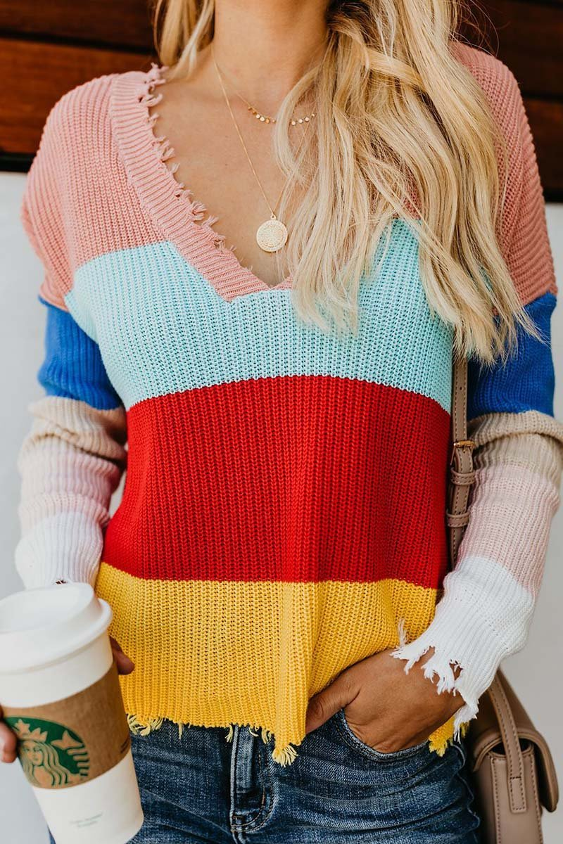 Borical V-neck Striped Loose Rainbow Sweater(3 colors)