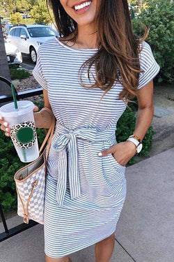 Borical Striped Knot Design Grey Midi Dress