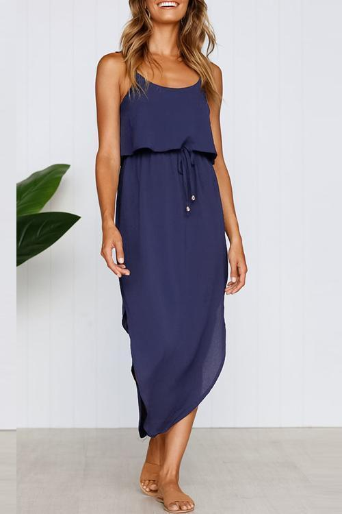 Blue Camisole dress with belt