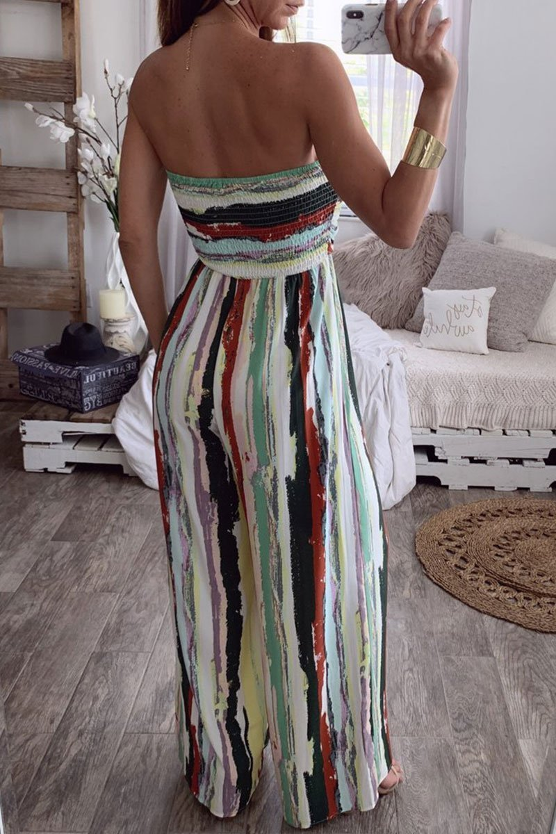 Borical Casual Bandage Striped Jumpsuit