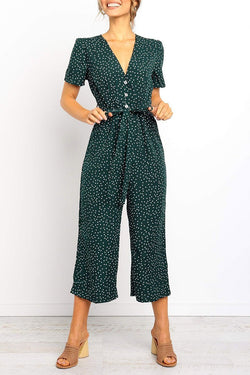 Borical V Neck Dot Printed Straight Jumpsuit