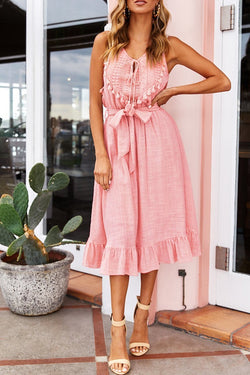 Tassel Lace-up pink Dress
