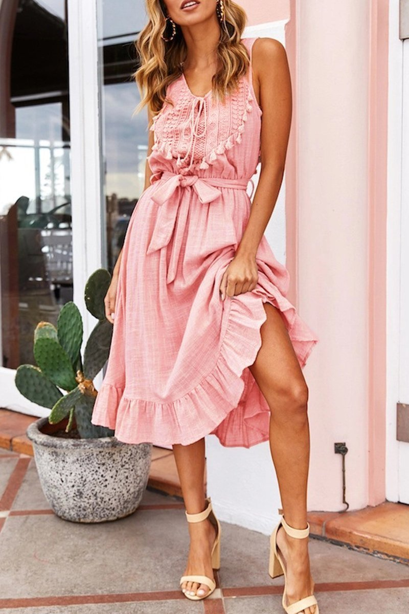 Borical Fashion Tassel Lace-up Midi Dress