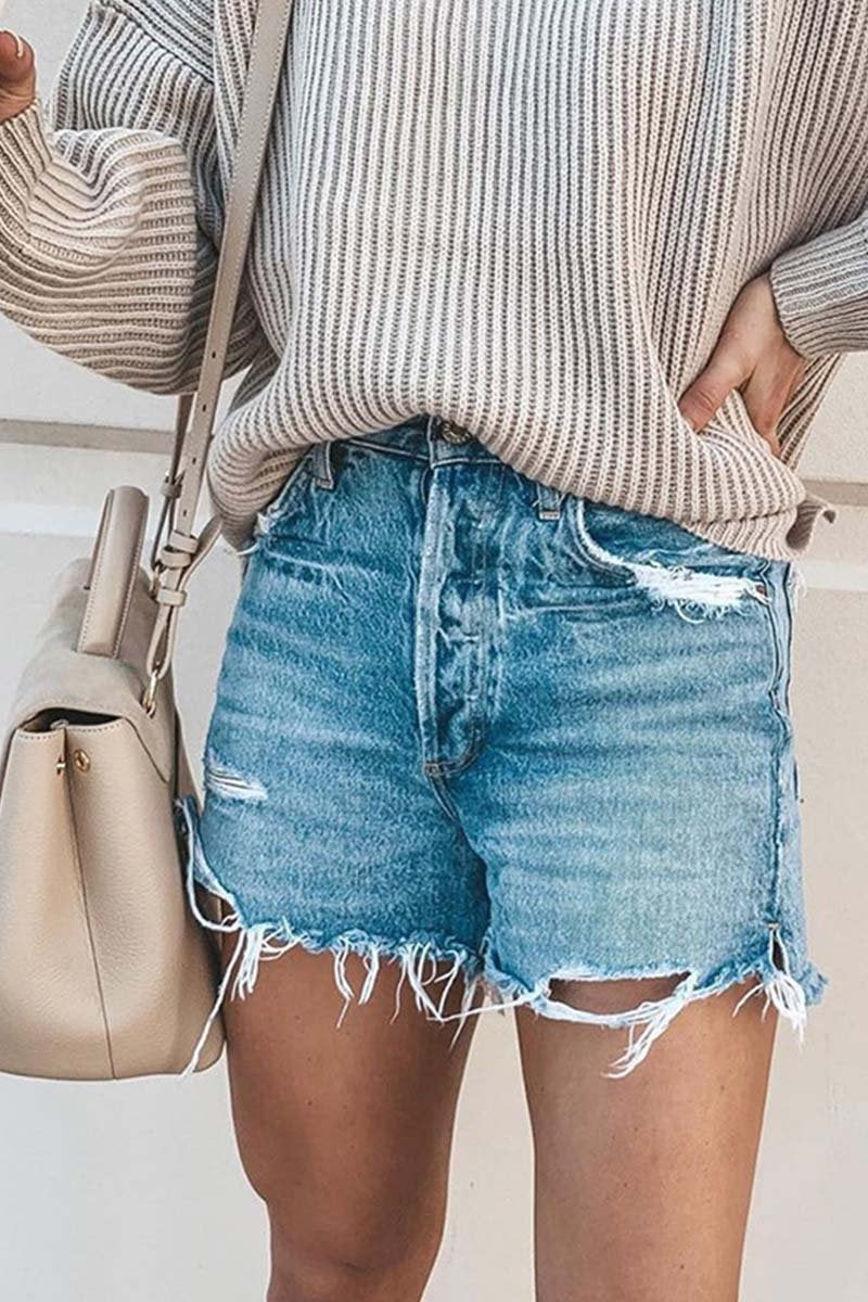 Borical Fringed Denim Shorts