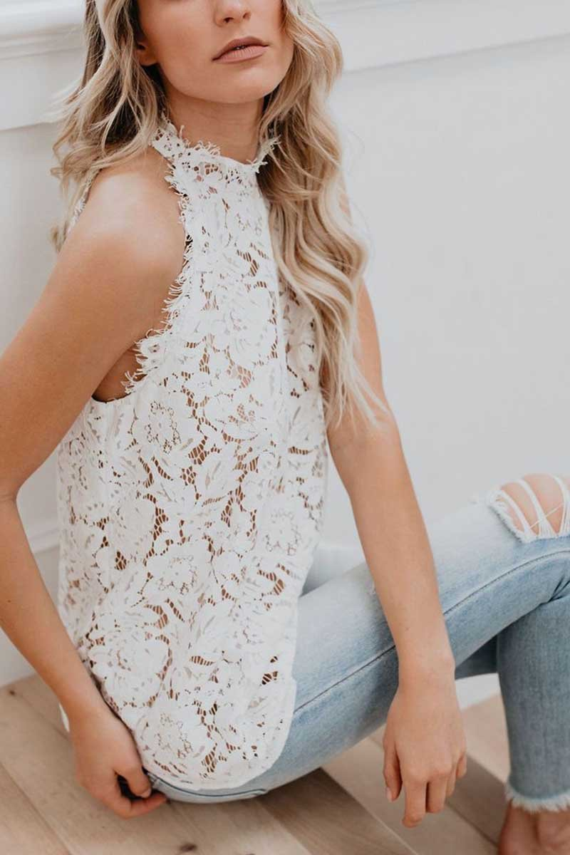 Summer Sexy Cutout Lace Tops
