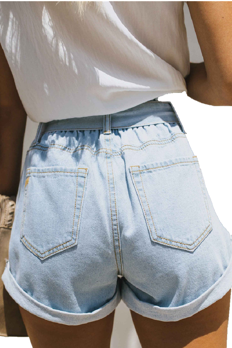Borical High Waist Ripped Denim Shorts